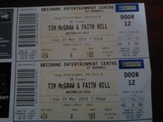 Two Gold tickets for Tim McGraw and Faith Hill Concert in Brisbane